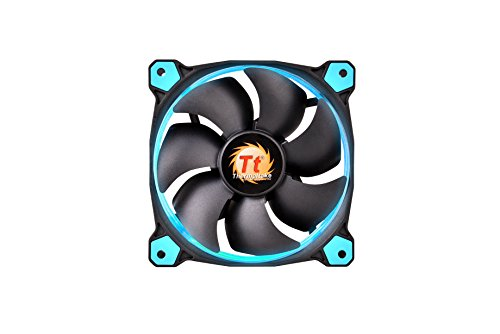 Thermaltake Riing 12 Series Blue High Static Pressure 120mm Circular LED Ring Case/Radiator Fan with Anti-Vibration Mounting System Cooling CL-F038-PL12BU-A by Thermaltake (Image #1)