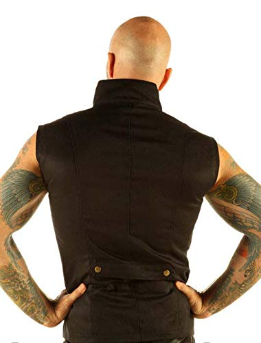 Men's Steampunk Military Waistcoat Vest Top Mandarin Collar Guard Snap SPA1 4