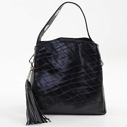 x para Shopper Negro Hobbo H W Mujer Eferri Prato 10x22x24 Bolso x Negro L cm IqPwOZU