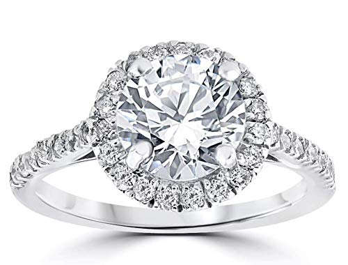 2.00 Carat Round Halo Simulated Diamond Engagement rings for women in 18k Gold Over Solid 925 Silver ()