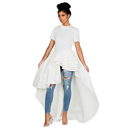 FANOUD Women Short Sleeve High Low Peplum Bodycon Casual Party Club Dress (XXL, White) by FANOUD