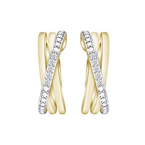 Samaira Jewelry Natural Diamond Criss-Cross Hoop Earrings in 14K - Sale: $21.25 USD