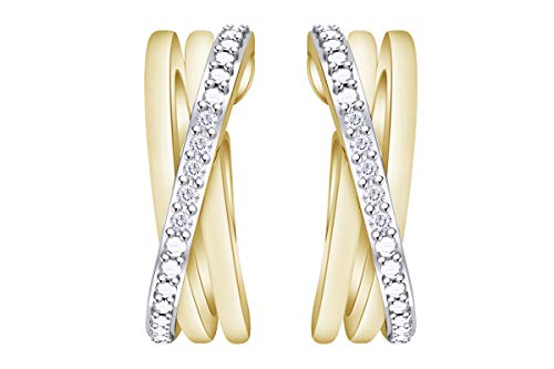 (Samaira Jewelry Natural Diamond Criss-Cross Hoop Earrings in 14K Yellow Gold Plated 925 Sterling Silver (0.04 Cttw, I2-I3 Clarity, I-J Color))