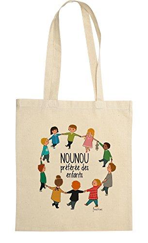 rigolobo Cadeau pour nounou : Sac Nounou préférée des enfants, signée par l'illustratrice Faustine