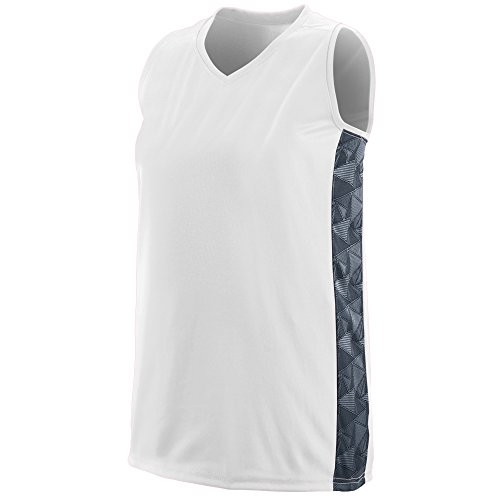 Racerback Jersey Softball (Augusta Sportswear Girls' Fast Break Racerback Jersey L White/Graphite/Black Print)
