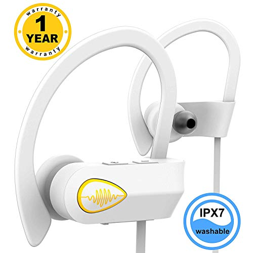 Bluetooth Headphones Waterproof IPX7 - Best Wireless Earbuds - Sport Earbuds - Sweat Proof Stable Fit in Ear Workout Earbuds - Noise Cancelling Microphone (White)