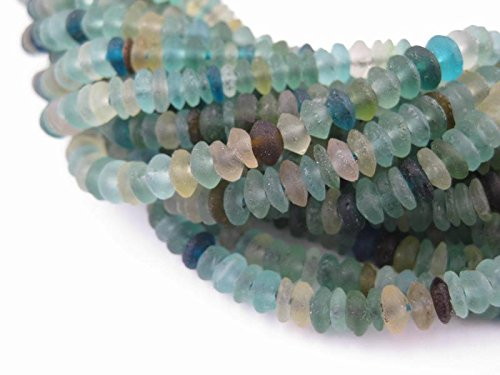 Saucer Roman Glass Beads, 100% Authentic and Genuine Ancient Glass, Made in Afghanistan, Matte Glass Beads for Jewelry Making, The Bead Chest (Glass Cylinder Bead)