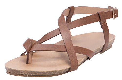 Cambridge Select Womens Crisscross Strappy Thong Buckled Slingback Flat Sandal Tan Pu mK0TR
