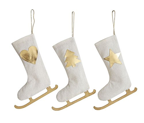 "Price comparison product image First of a Kind 7"" H Fabric Ice Skate Stocking Ornament, White & Gold, Set of 3"