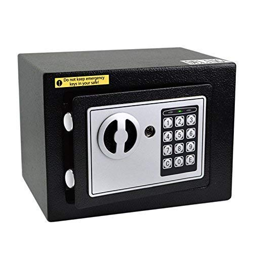 Doitpower 7'' 0.3 Cubic Feet Digital Electronic Safe Black Box Combo Keypad Lock Password Lock