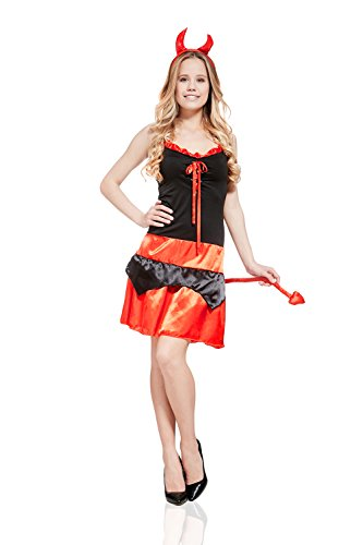 Hot Devil Babe Costumes (Adult Women Devil Demoness Incubus Hellcat Costume Cosplay & Role Play Dress Up (Small/Medium, Black, Red))