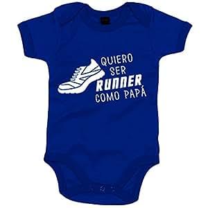 Body bebé Quiero ser runner como papá - Azul Royal, 6-12 meses