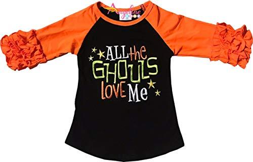 Little Girls Halloween All The Ghouls Love Me Ruffles Raglan T-Shirt Black/Orange 4T/L]()