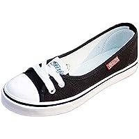 Las mujeres lona Pisos Loafers, mosunx (TM) Casual Flats transpirable antideslizante zapatos, Negro