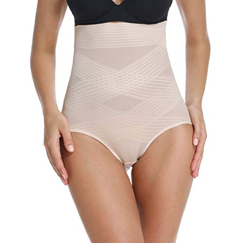 Body Shaping Girdle - Shapewear Panties for Women Body Shaper Briefs High Waist Tummy Control Panties Shaping Girdle Underwear (Beige, L)