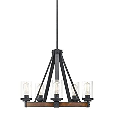 "Kichler Lighting Barrington 5 Light Distressed Black and Wood Rustic Clear Glass Candle Chandelier, 24.02"" W"