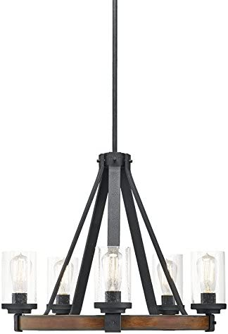 Kichler Lighting Barrington 5 Light Distressed Black and Wood Rustic Clear Glass Candle Chandelier, 24.02 W