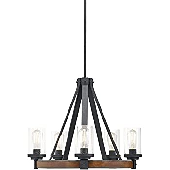 Vineyard 6 Light Metal And Wood Chandelier Amazon Com