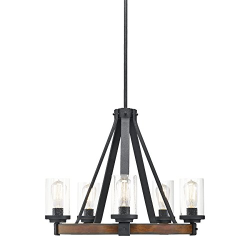 Kichler Lighting Barrington 5 Light Distressed Black and Wood Rustic Clear Glass Candle Chandelier, 24.02