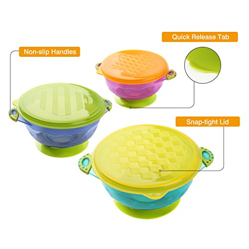 Zooawa Baby Bowls with Suction Base, 3-Pack Nonslip Spill Proof Feeding Training Bowl Dinnerware with Seal Easy Lid for Babies, BPA-Free, for Over 6 Months Infants, Colorful by Zooawa (Image #4)