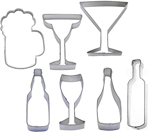 ShopForAllYou cutters 7 Piece Beverage Cookie Cutter Set Beer Champagne Wine - Piece 7 Beverage