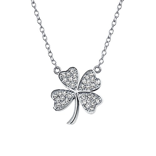 Shamrock Pave Cubic Zirconia CZ Lucky Charm Four Leaf Clover Pendant Necklace For Teen For Women 925 Sterling Silver
