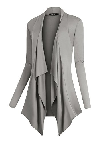Drape Jersey Slub - Urban CoCo Women's Drape Front Open Cardigan Long Sleeve Irregular Hem (L, Light Gray)
