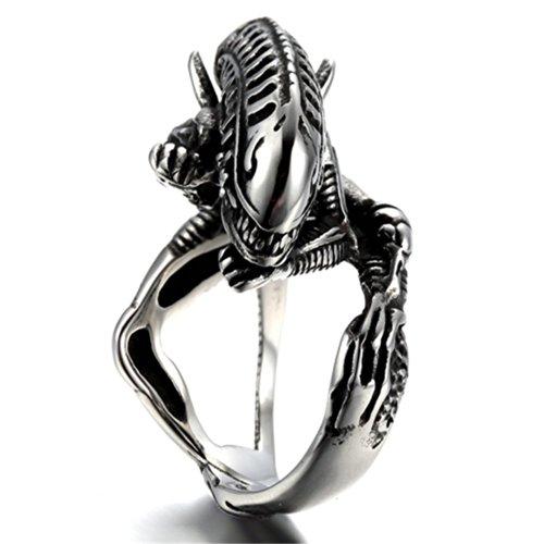 K Mega Bijoux acier inoxydable Hommes Anneau , Couleur Noir Argent, Motard, Crâne, Classique, Alien, avec sac-cadeau