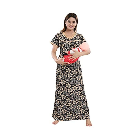 TUCUTE Women's Beautiful Print with Invisible Zip Feeding/Maternity/Nursing Nighty/Nightwear Pattern.