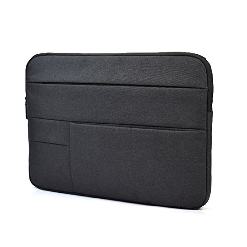 HOOSUN Polyester Fabric Sleeve Case Cover Laptop Attache Briefcase Notebook Bag for 11-15.4 Inch Laptop and Macbook Air Pro Ultrabook (Black, 13