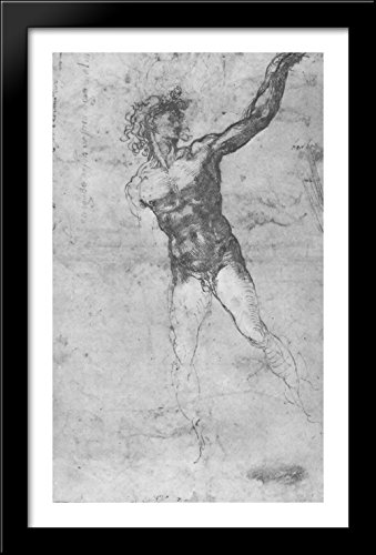 """ketch of a Nude Man (study for the """"Battle of Cascina"""") 26x40 Large Black Wood Framed Print Art by Michelangelo"""