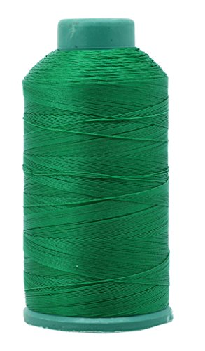 Mandala Crafts Bonded Nylon Thread for Sewing Leather, Upholstery, Jeans and Weaving Hair; Heavy-Duty; 1500 Yards Size 69 T70 (Green)