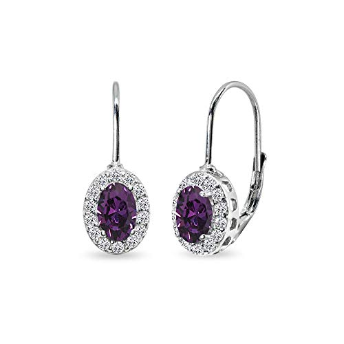 February Birthstone Lever Back Earrings - Sterling Silver Purple 6x4mm Oval Halo Leverback Earrings Made with Swarovski Crystals