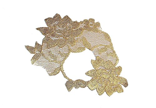 Adhesive Metallic Gold Leaf Lace Masquerade Mask (adheres to skin & reusable!) by LacedAndWaisted (comes with liquid adhesive) no stick or strap needed! (strapless) ()