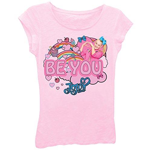 Jojo Siwa Girls' Little Clouds & Rainbows Short Sleeve T-Shirt, Light Pink, 5/6