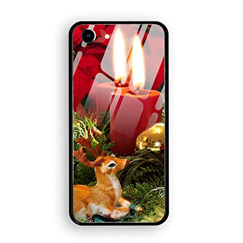 iPhone 7 Case,Holiday Christmas Ornaments Poinsettia Deer Candle Hard Ultra Thin Slim Case Anti-Scratch with [Tempered Mirror + Glossy Coating] Full Protective Compatible for iPhone 7
