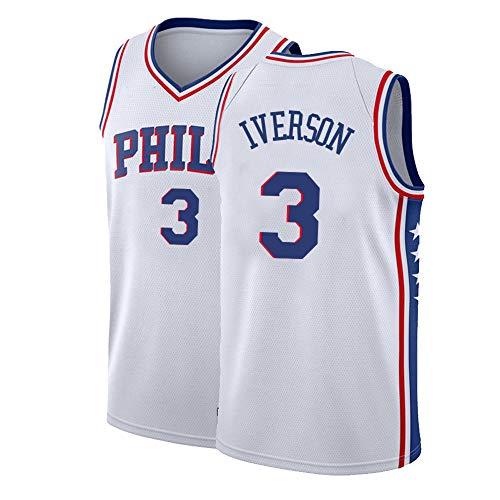 Tyidnas Mens Iverson Jersey 3 Allen Philadelphia Adult Basketball Sizes White (White, Small)