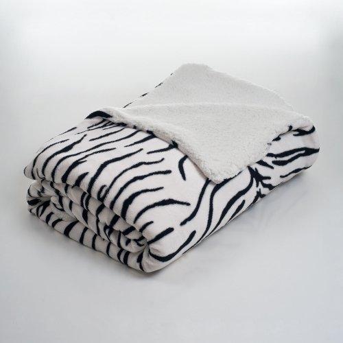 Lavish Home Fleece Blanket with Sherpa Backing, Twin, Zebra Zebra Fleece Blanket