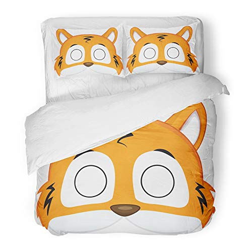 Emvency Bedding Duvet Cover Set Twin (1 Duvet Cover + 1 Pillowcase) Animal Cartoon Tiger Mask for Children Masquerade Pattern Costume Halloween Avatar Hotel Quality Wrinkle and Stain Resistant for $<!--$89.90-->