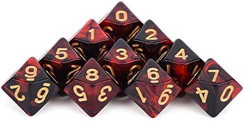 WHFDSBD Dados Poliédricos,Precioso Rojo Y Negro Caras Poliédricas Dados para Mesa RPG Mundo De Tinieblas Vampiro Juego De 10 D10: Amazon.es: Hogar