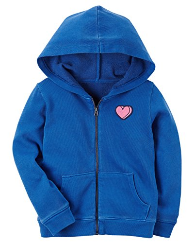 Carter's Girls' Patch Zip-Up Hoodie (12 Months, Blue) - Blue Infant Sweatshirt