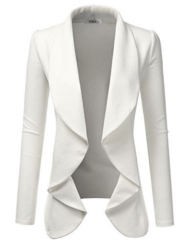 f53b47873a0d8 Doublju Classic Draped Open Front Blazer for Women with Plus Size Ivory  Small
