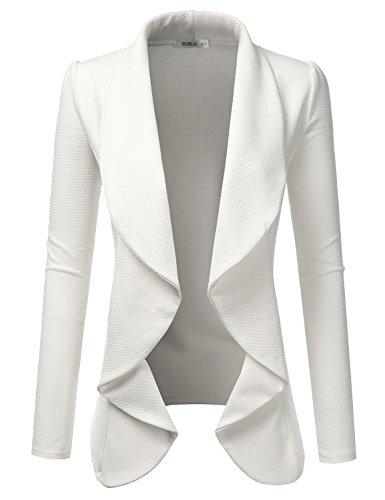 Doublju Classic Draped Open Front Blazer for Women with Plus Size Ivory X-Large by Doublju