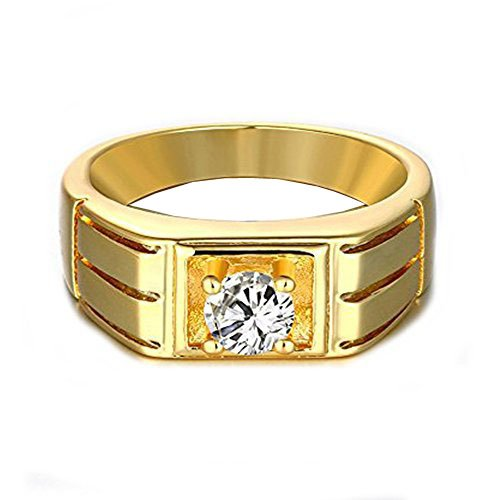 Geminis Mens Personality Gold Plated Cubic Zirconia Wide Band (Gold Pinky Ring)