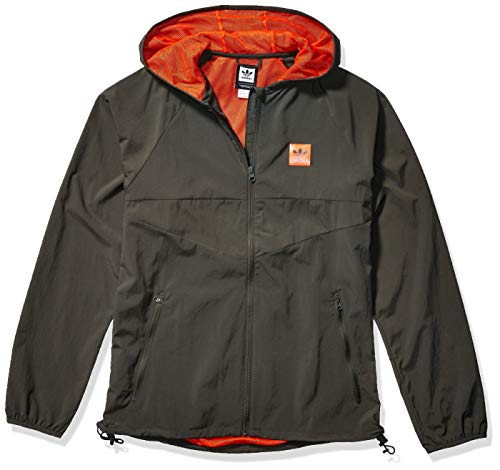 adidas Originals Men's Skate Dekum Packable Jacket, legend Earth/active orange