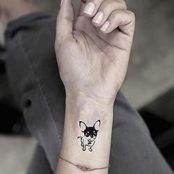 Chihuahua Temporary Fake Tattoo Sticker (Set of 2) - www.ohmytat.com