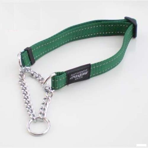 Rogz Utility Fanbelt Green Half-Check Collar - Large