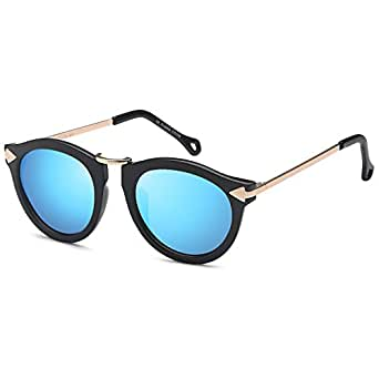 CATWALK Womens UV400 Round Cat Eye Sunglasses – Mirror Blue Lens on Black Gold Frame