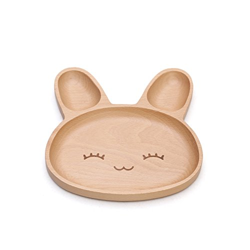Huluwa Dinner Plate Baby Plate, Serving Dish Platter for Children Kids Toddler, Natural Wood Eco-friendly, Bunny