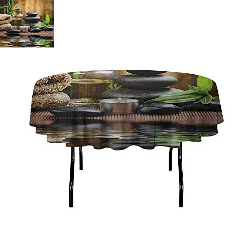 Douglas Hill Spa Printed Tablecloth Asian Zen Massage Stone Triplets with Herbal Oil and Scent Candles Print Desktop Protection pad D59 Inch Black Brown and ()